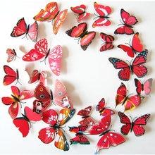 Pegatinas de pared de mariposas Rojas/blancas para decoración del hogar, Imán, decoración de boda, 12 Uds.