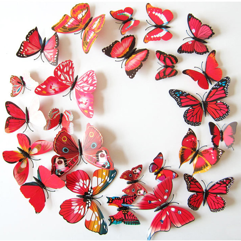 12Pcs 3D Red/White Magnet Butterflies DIY Wall Sticker For Home Decor Butterfly On The Wall Fridage Stickers Wedding Decoration