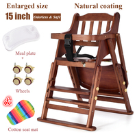 multi founctional adjustable foldable and portable solid wood baby feed chair for 1 6 years old baby adjustable height highchair