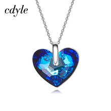 Cdyle Embellished with crystal Pendant AB Color Blue Heart Shaped Engagement Fashion Jewelry Bijoux Sexy Lady(China)