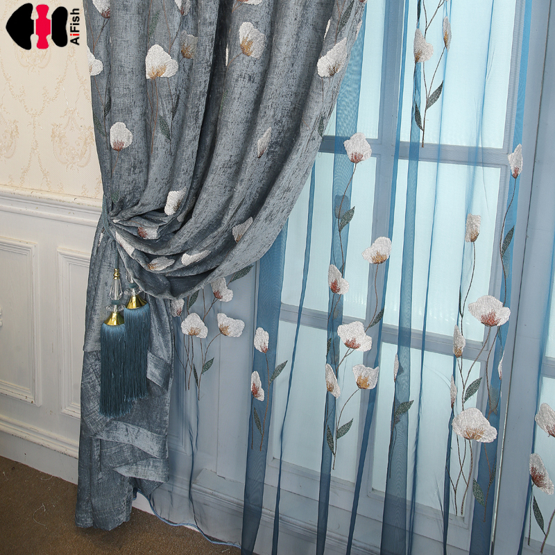 Pastoral modern chenille embroidered curtains, living room bedroom bay window curtains curtains for living wp259C