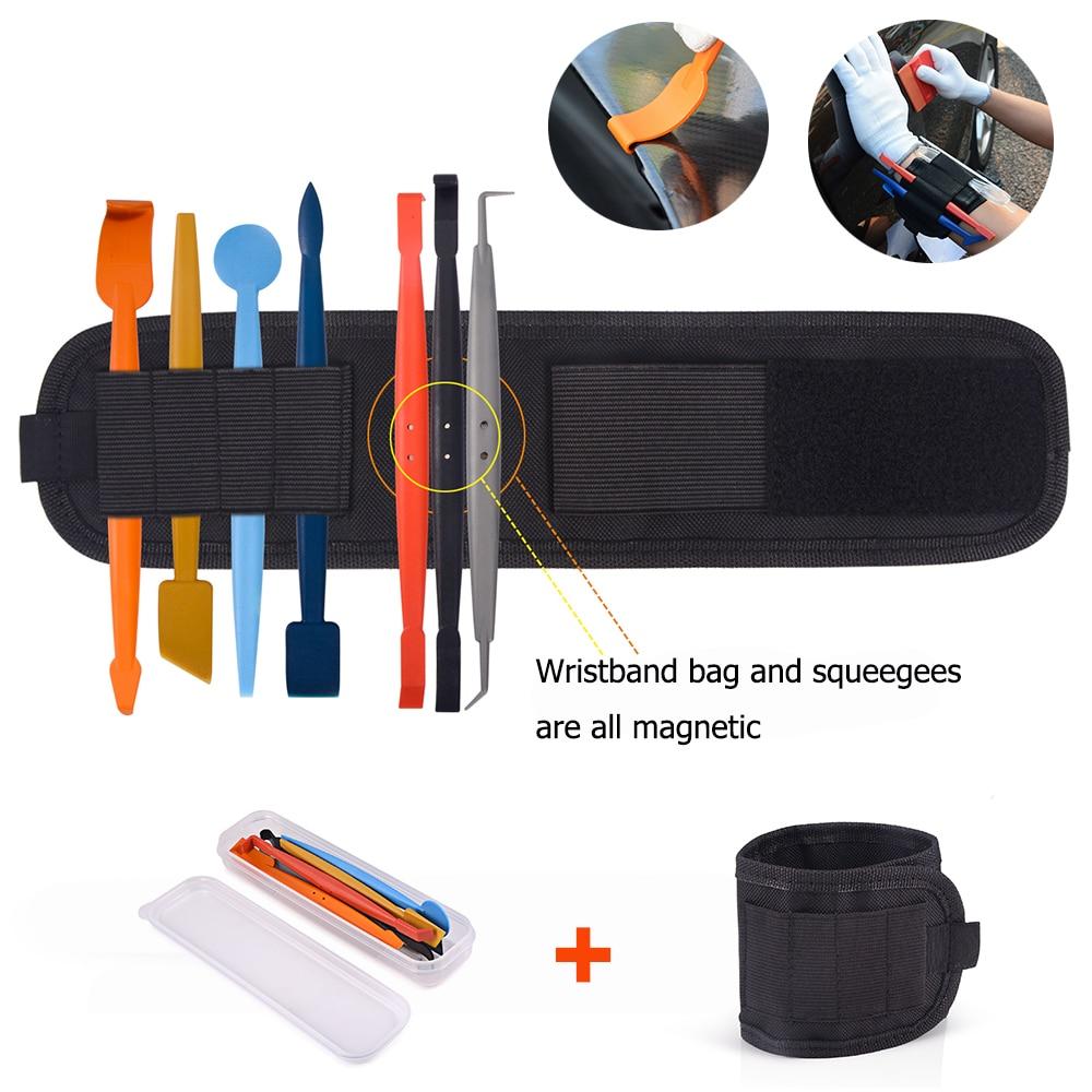 FOSHIO 8pcs Vinyl Car Wrap Magnetic Squeegee Set Wristband Magnet Window Tint Tools Bag Car Sticker