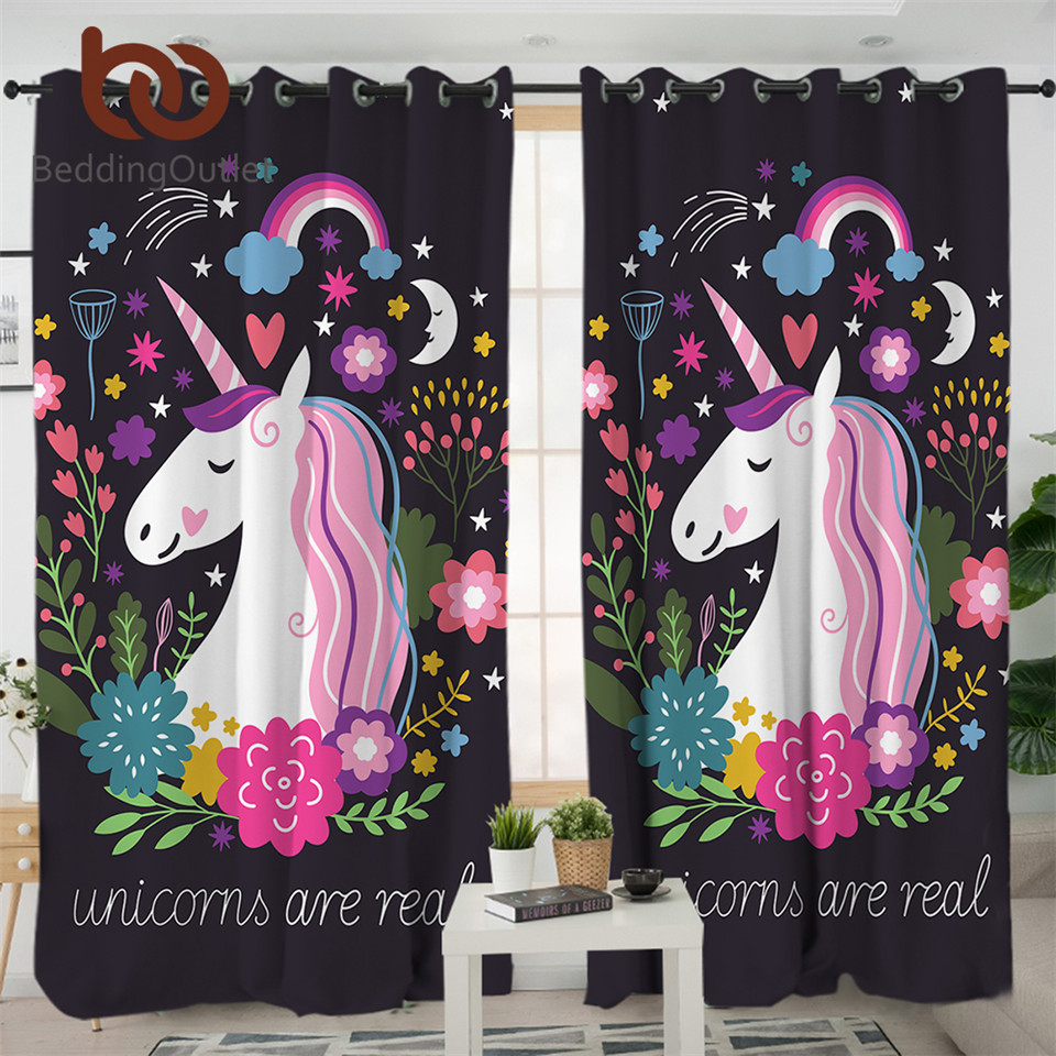 BeddingOutlet Unicorn Living Room Curtains Cartoon Print Curtain For Kids Bedroom Girls Floral Window Treatment Drapes 1pc