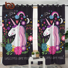 BeddingOutlet Unicorn Living Room Curtains Cartoon Print Curtain for Kids Bedroom Girls Floral Window Treatment Drapes 1pc(China)