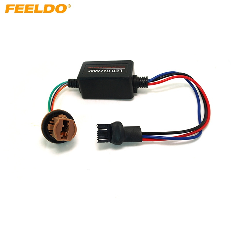 FEELDO 2Pcs DC12V 7443 Turn Signal Socket Warning Error Canceller Error Free Load Resistor LED Decoder #AM2271