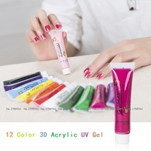 New 12 pcs/set Nail Acrylic UV Gel Design 12 Color 3D Nail Painting Acrylic Paint  Nail Polish 12ML/22ML Free Shipping 12 color nail art paint pens set 12 pcs