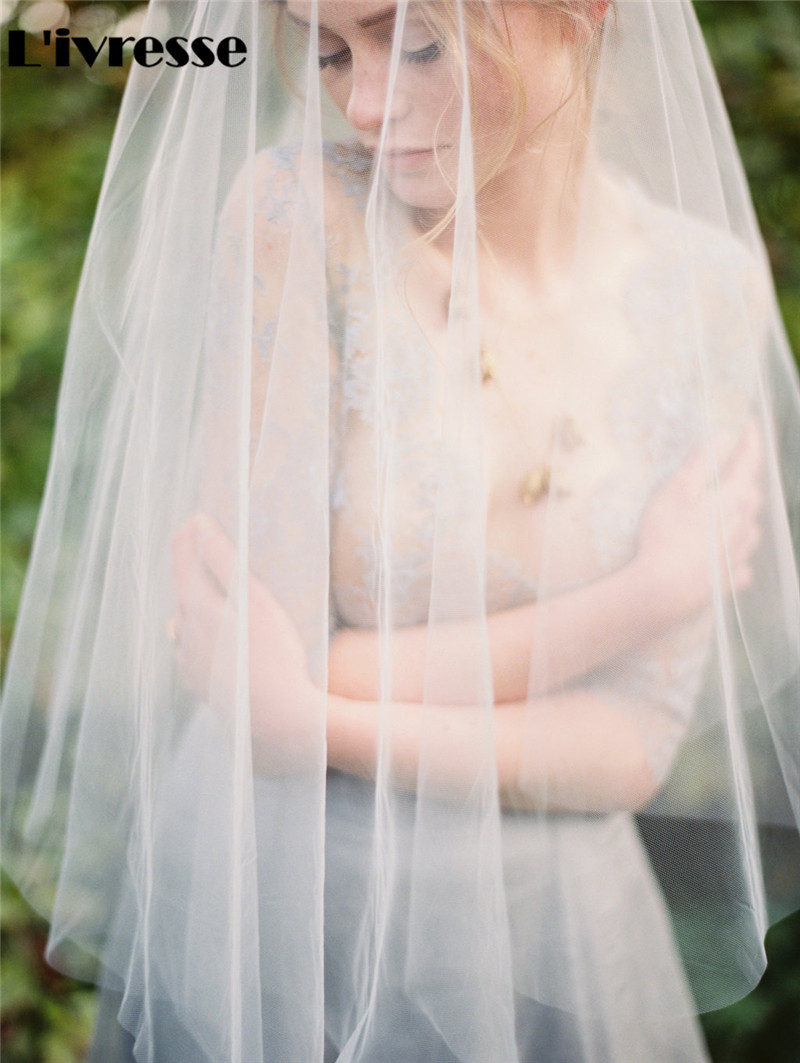 Short One Layer No Combs Soft Net Wedding Veils Bridal Headpiece - Bröllopstillbehör - Foto 2