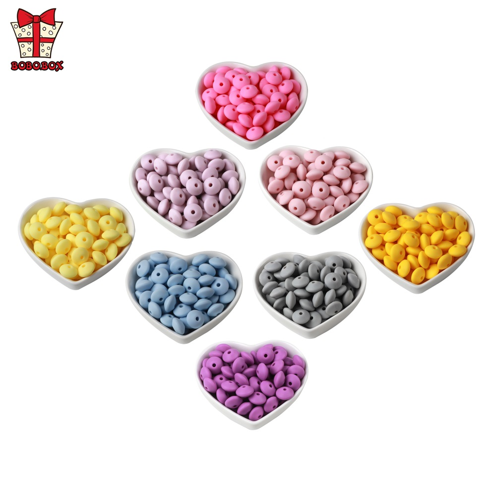 BOBO.BOX 30Pcs Lentil Silicone Beads Abacus Round Silicone Pearl Baby Teether DIY Pacifier Chain Food Grade Silicone BPA Free