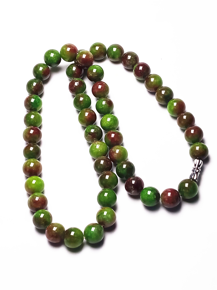 Koraba Natural 10mm Red Green Beads Jade Gemstone Women NekclaceKoraba Natural 10mm Red Green Beads Jade Gemstone Women Nekclace