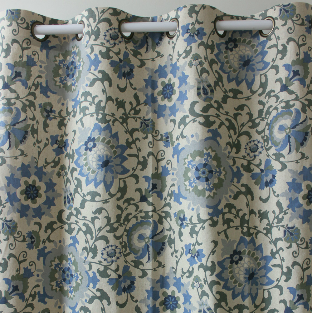 Blue bedroom window curtains - Vezo Home Print Blue Flower Linen Window Treatment Curtains Panel For Bedroom Living Room Home Decorative Curtain 51x98