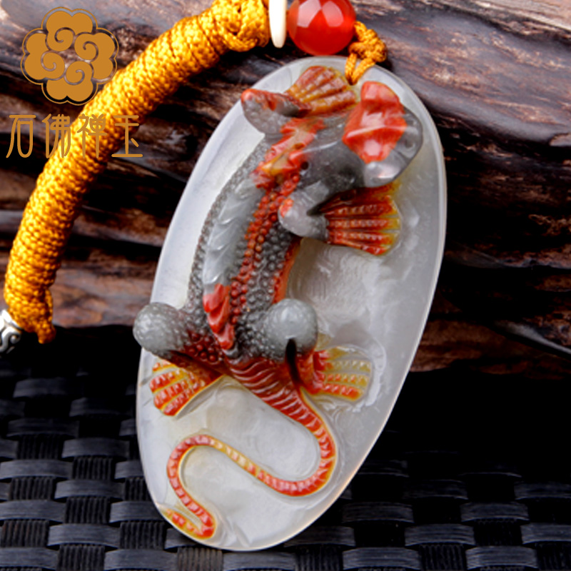 Men and women style natural stone Huang Longyu originally Qiao color lizards style pendant tie-in red beads necklace qiao fox qiao fox dm