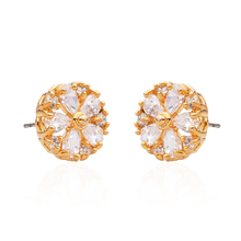 Aiffry  Luxury  Crystal Flower Stud Earrings For Women With Zircon Stone Jewelry Birthday Gift  E2351