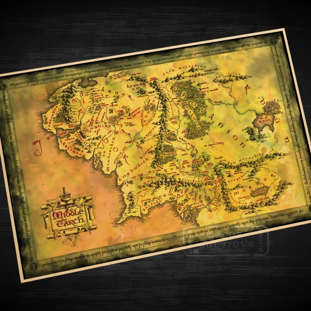 Lord of the Rings Middle earth Old Map Classic Vintage Retro Kraft