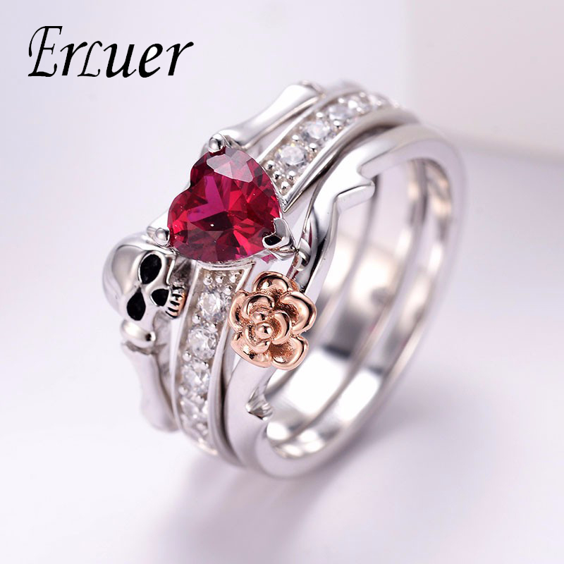 Skull Finger Silver female wedding rings set For Women Girl Red Heart Crystal CZ Rose Flower Skeleton Gothic Jewelry Gift ring(China)
