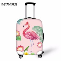 INSTANTARTS Travel Elastic Luggage Protect Covers For 18 30 Inch Suitcase 3D Cartoon Flamingo Printed Thickened