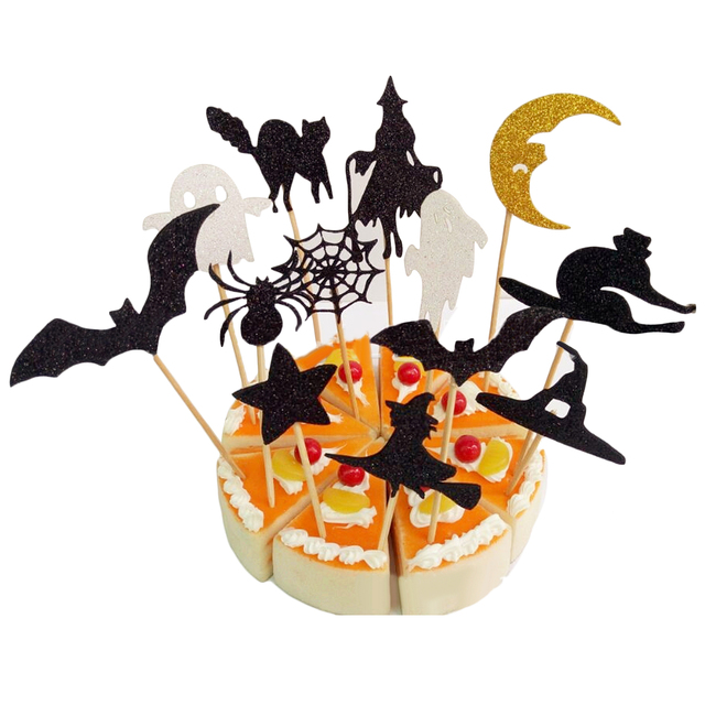 Behokic 20pcs Sparkly Witch Spider Ghost Bat Cake Picks Cupcake