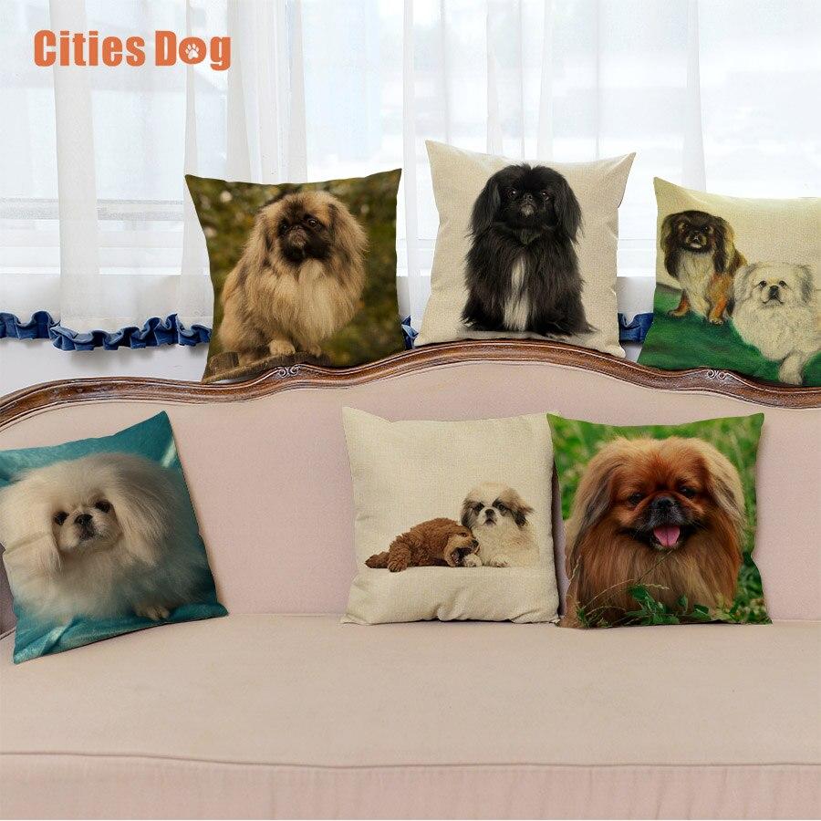 Cão animal decorativo fronha capa de almofada pekingese cães almofadas almofadas decorações de natal para casa almofada cojines