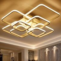 Square Circel Rings Ceiling Lights For Living Room Bedroom Home AC85 265V Modern Led Ceiling Lamp Fixtures lustre plafonnier