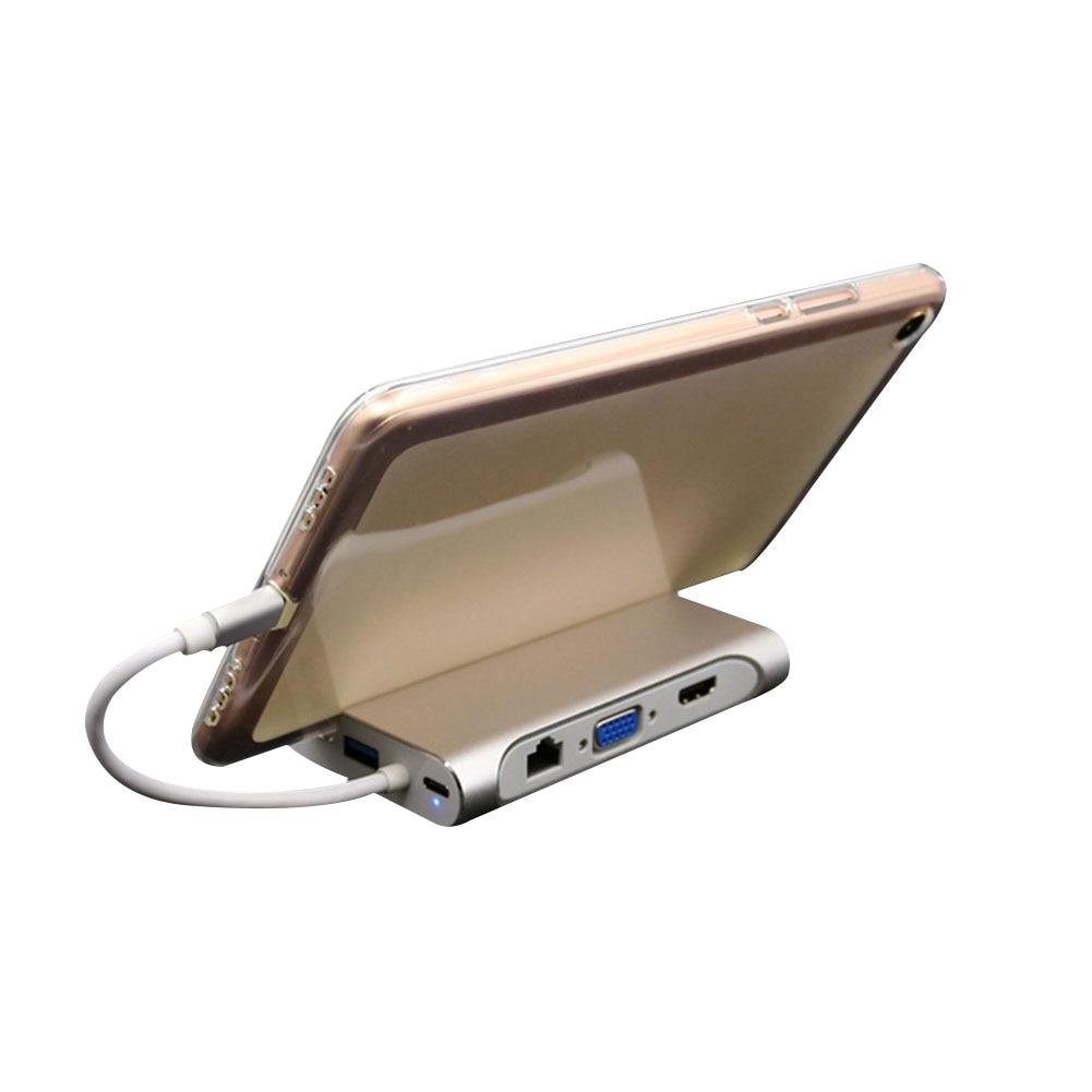 Nueva llegada 7 en 1 USB-C HDMI VGA Rj45 Ethernet USB 3,0 puerto de tipo C adaptador de Hub - 2