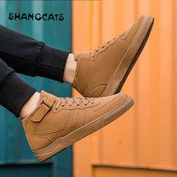 High Top Men's Vulcanize Shoes Solid Color men winter shoes Fashion casual shoes for men board shoes winter male 2018 khaki