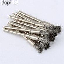 Dophee 10 adet paslanmaz çelik tel çelik kalem fırçalar tekerlek Mandrel seti Dremel aksesuarı döner araçları 3.17mm kalem fırçalar