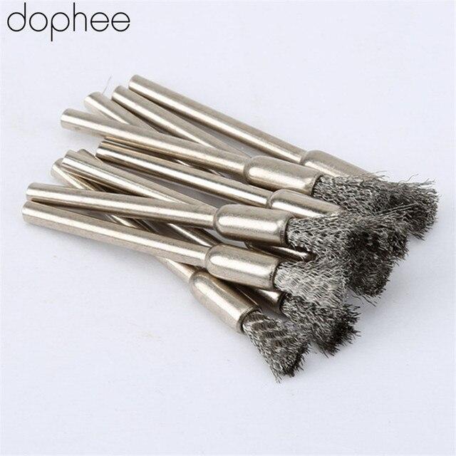 Dophee 10Pcs נירוסטה חוט פלדה עיפרון מברשות גלגל Mandrel סט Dremel אבזר עבור רוטרי כלים 3.17mm עיפרון מברשות
