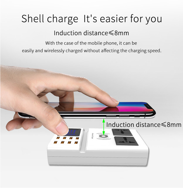 universal led display 8 ports USB smart charger wireless charger charging pad  dock station(3)