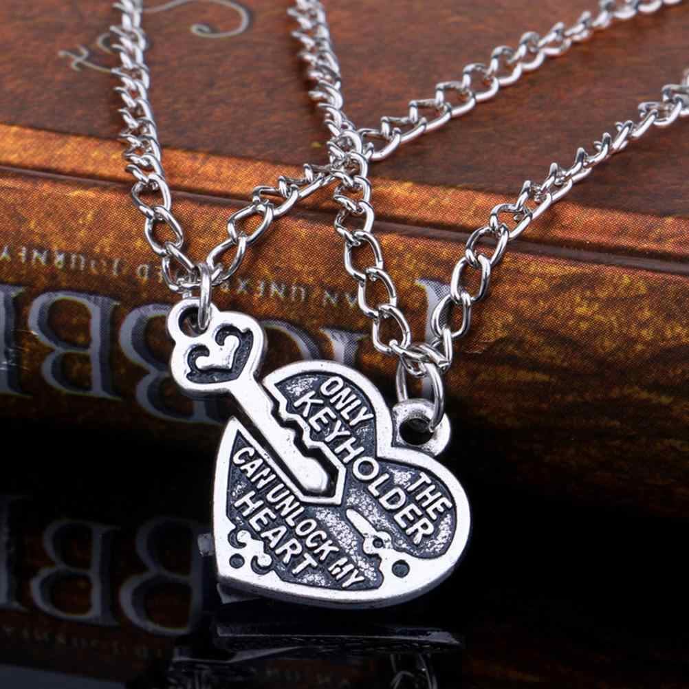 """Unlock My Heart""Special Design Lovers Jewelry Fashion Style Key Heart Pendant Chain Necklace Couple Alloy Necklaces"