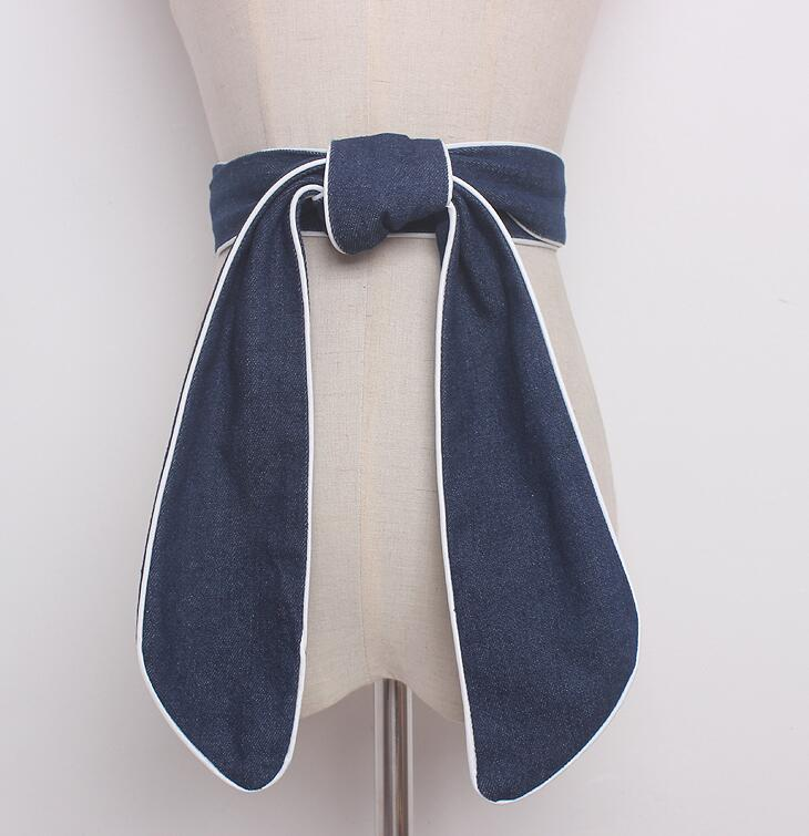 Women's Runway Fashion Denim Bow Cummerbunds Female Dress Corsets Waistband Belts Decoration Wide Belt R1625