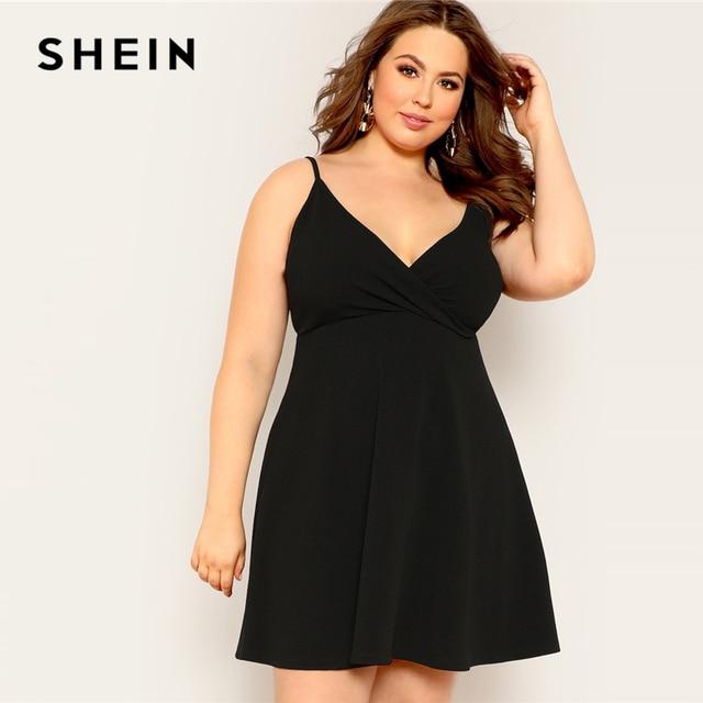 SHEIN Plus Size Black Surplice Neck Solid Cami Fit And Flare Midi Dress Women 2019 Summer Spaghetti Strap High Waist Dress