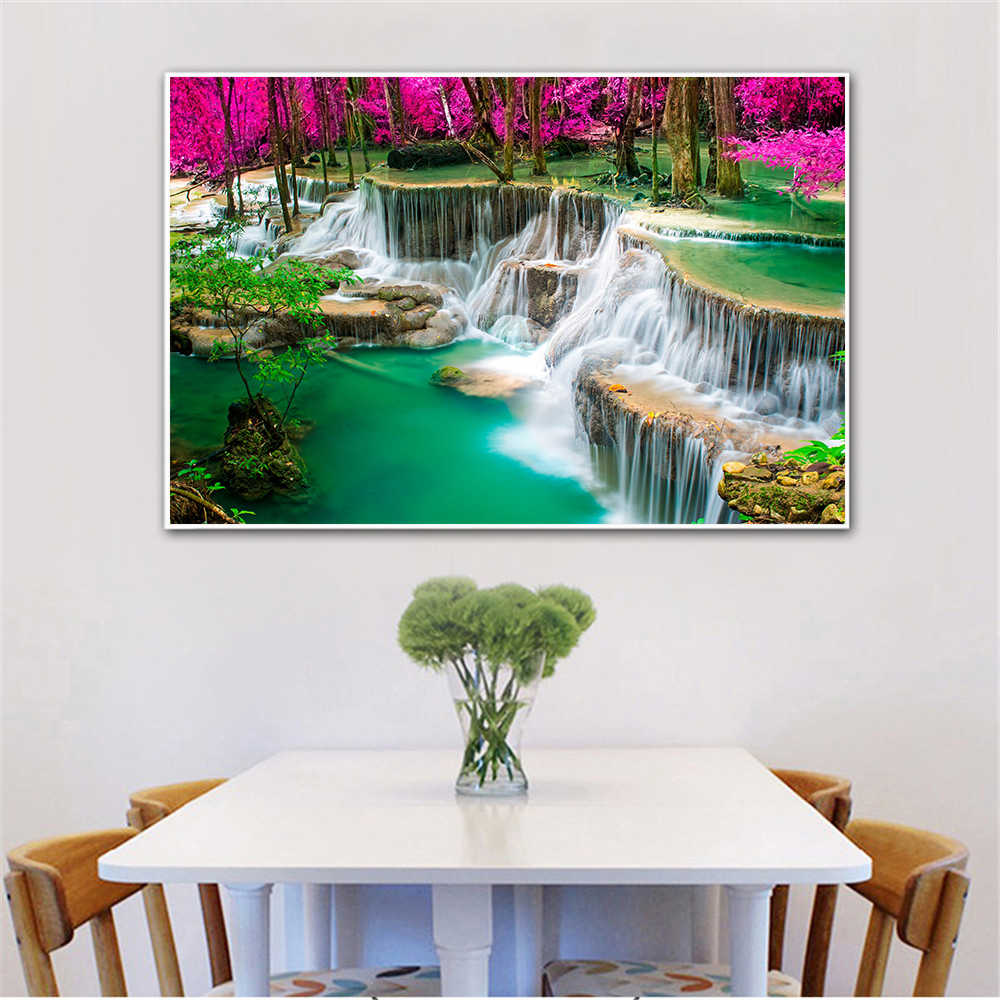 Landschap Schilderen Canvas Wall Foto 'S Mountain Waterval Regen Bos Blauwe Rivier Jungle Poster Voor Woonkamer Decor Cuadros