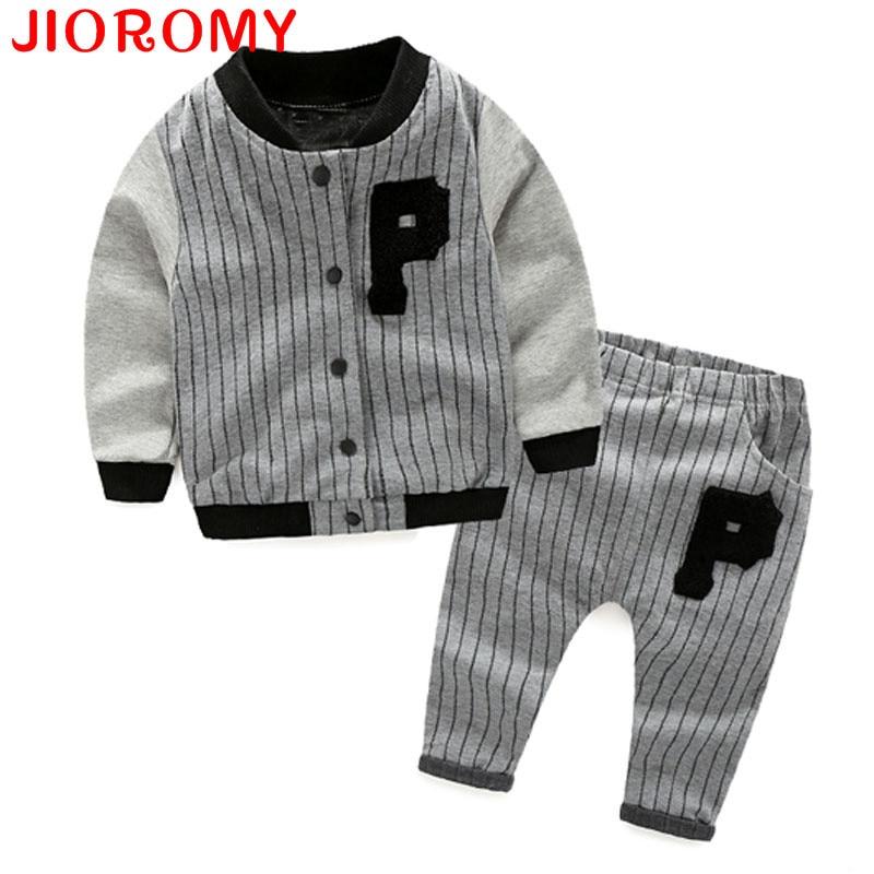 JIOROMY Boys Clothes suits 2017 New Autumn Long-sleeved Zipper Jacket Coat + Stripe Pants 2 Pieces  Sports kids Clothes Sets