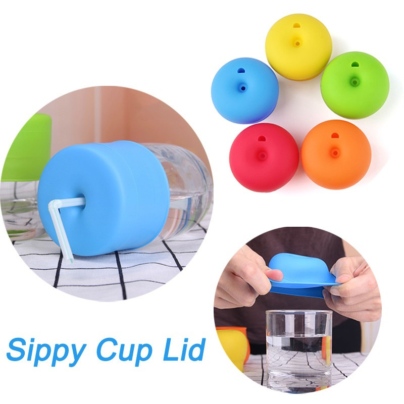 2018 Creative Silicone Kids Baby Sippy Lids Silicone Stretchable Leakproof Cup With Straws Safety Spillproof Drinking Training