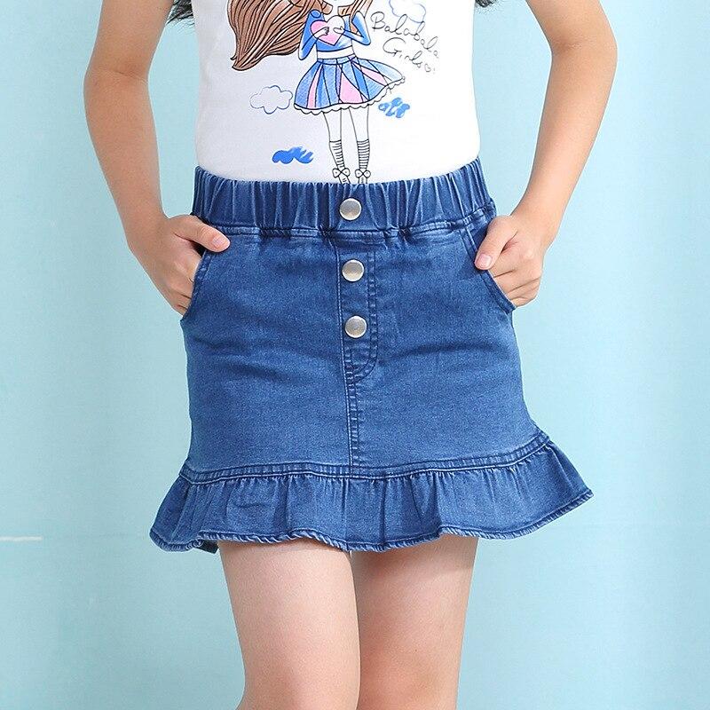21d34b2f3 € 7.54 28% de DESCUENTO|Nueva falda de verano para niñas 2019 niños casual  buena calidad azul denim botones sirena falda para niñas 3 9 ¡años! ...