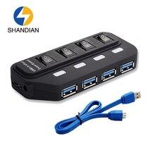 Shandian Новый мини 4 Порты светодиод высокой Скорость USB 3.0 хаб Портативный USB HUB ультра Скорость 5 Гбит HUB USB адаптер разветвитель для портативных ПК