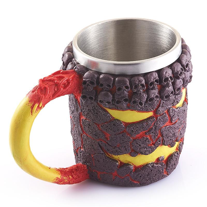 350ML Stainless Home Decorate 3D Skull Mugs My Coffee Tea Bottle Mug Knight Tankard Dragon Drinking <font><b>Cup</b></font> With Animal Kup Milk