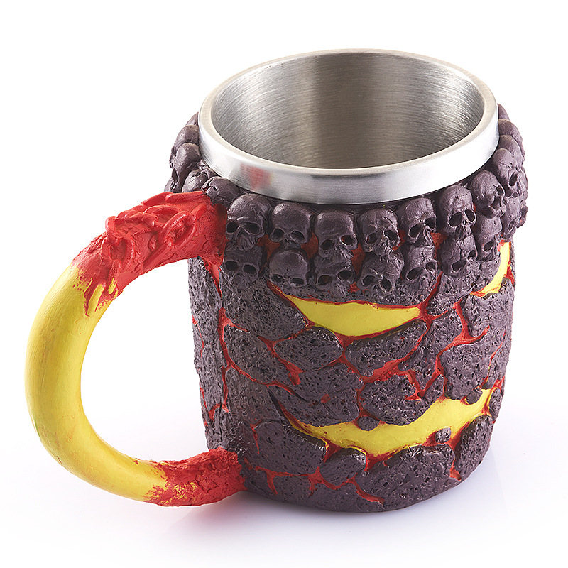 350ML Stainless Home Decorate 3D Skull Mugs My Coffee Tea Bottle Mug <font><b>Knight</b></font> Tankard Dragon Drinking <font><b>Cup</b></font> With Animal Kup Milk