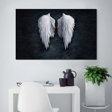 Wih Cross-border Micro-jet Black Angel Wings Core Hotel Decorative Hanging Painting New for Foreign Trade