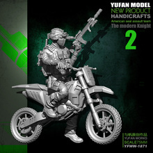 цена на Yufan Model Original 75mm 1/24 Motorcycle  Us Army  Resin Soldier Yfww-1871