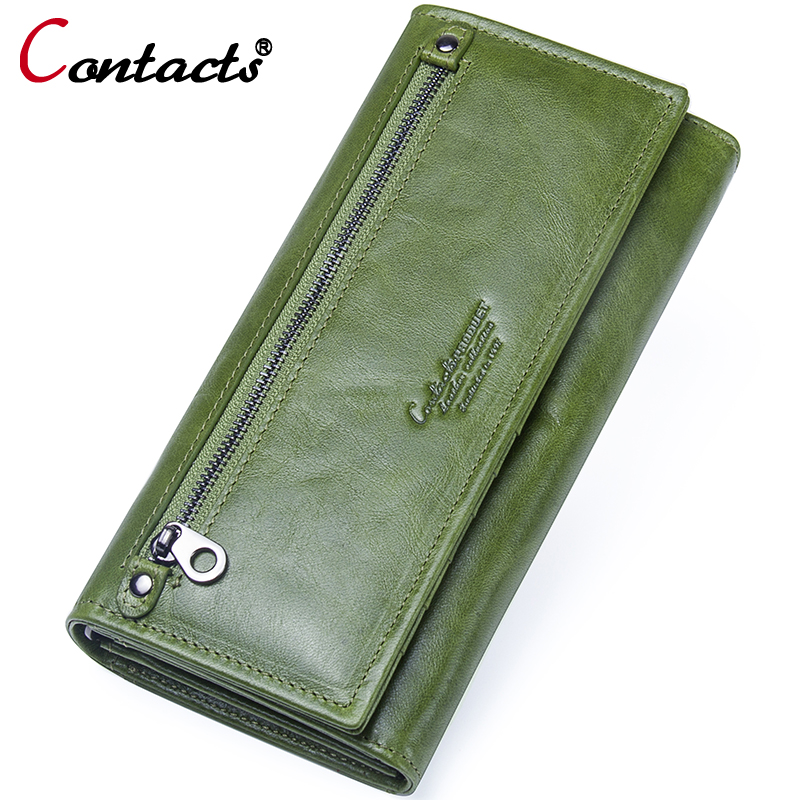 Contact's Wallet Female Genuine Leather Long Wallet Passport Cover Clutch Card Holder Coin Purse Phone Money Bag Travel Handbag p kuone business men purse famous luxury brand coin credit card holder male travel long wallet passport cover leather money bag