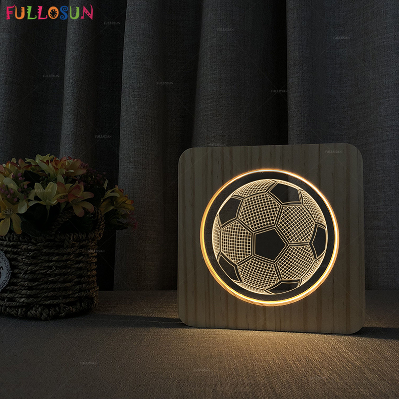 Modern Wooden Table Lamp Warm Color 3D Acrylic Night Lamp LED Soccer Lights as Living Room Decor Kids Gift
