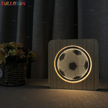 Modern Wooden Table Lamp Warm Color 3D Acrylic Night Lamp LED Soccer Lights as Living Room Decor Kids Gift funny 3d led little racoon night lamp led usb power table lamp as kids room sleeping lights