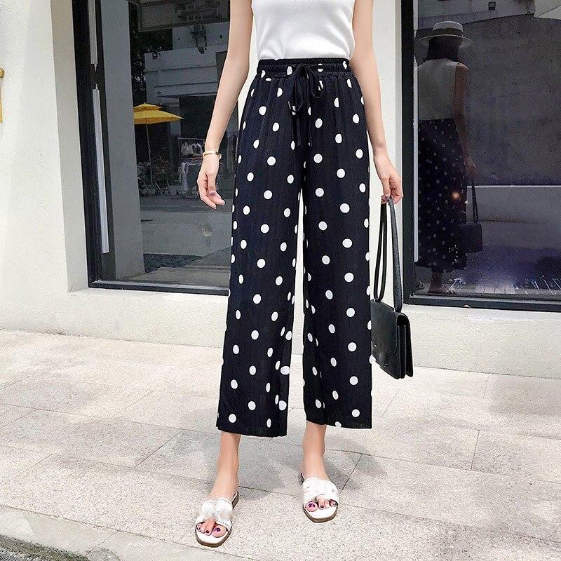 2019 Streetwear Summer   Wide     Leg     Pants   Women Elastic High Waist Pleated Plus Size Polka Dot Trousers