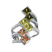 Real 925 Jewelry Light Three color crystal Rings For Women Princess Party Wedding Engagement Gift Top Brand fashion