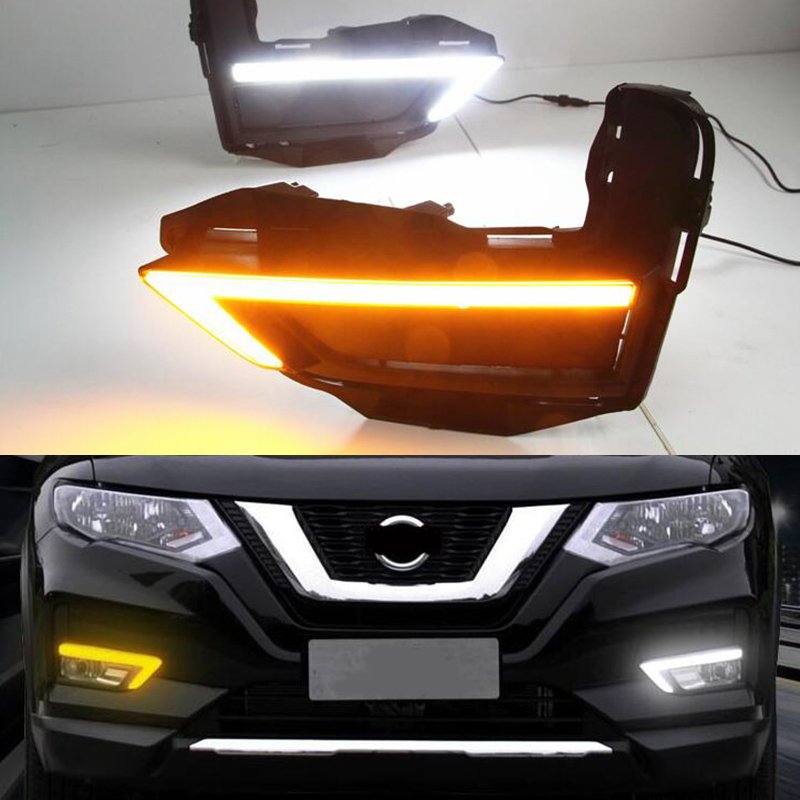 For Nissan X-Trail Xtrail X trail 2017 2018 12V LED DRL Daytime Running Light Daylight Fog Lamp Yellow Turn Signal Style Relay