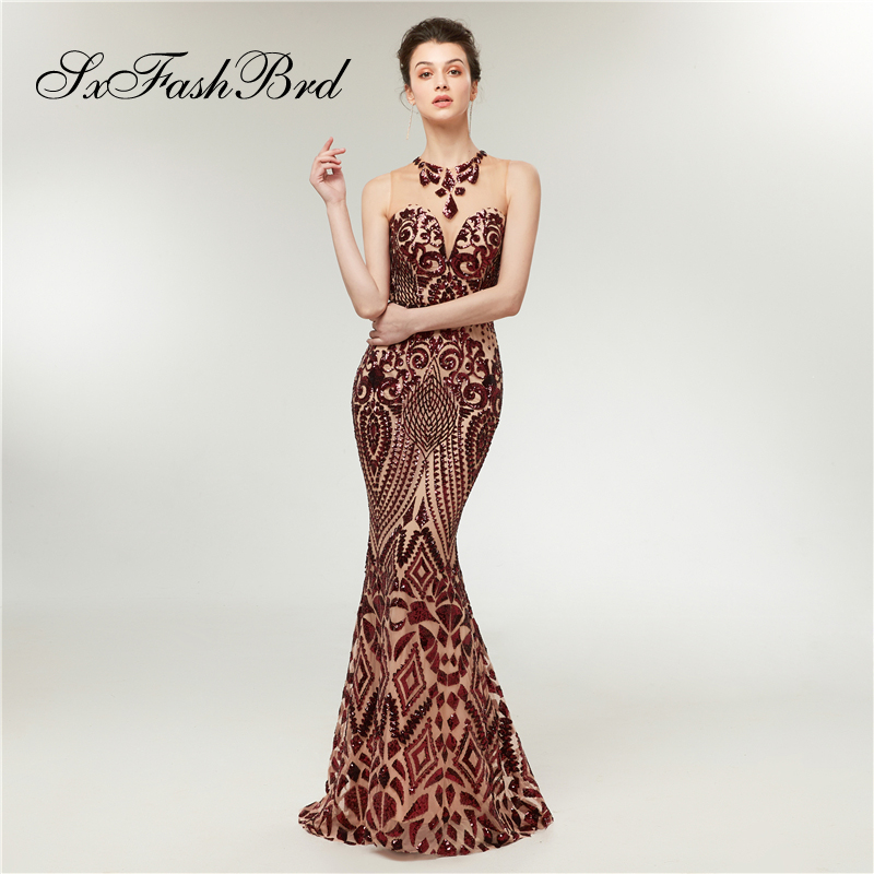 O Neck Mermaid Elegant   Dress   Wine Red Sequined Appliques Tulle Long Formal   Evening     Dresses   for Women Party Prom Robe Longue