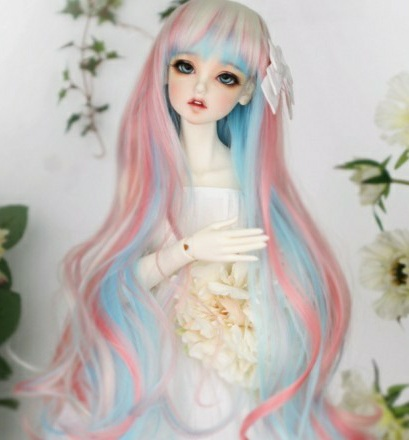 2017 New Arrival 1/3 1/4 1/6 Bjd Sd Doll Wig High Temperature Wire Long Colourful  Wavy BJD Super Dollfile Hair Doll Wig new arrival 65cm long wavy purple female