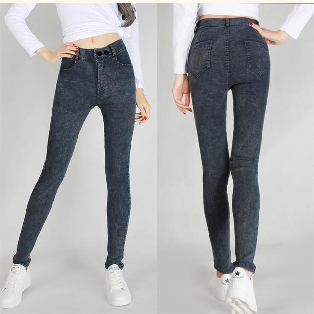 Hodisytian Nuevas Mujeres de La Moda Botón de Los Pantalones Vaqueros Pantalones de Estiramiento Delgado de Cintura Alta Pantalones Lápiz Pantalones Casual Pantalon Femme Plus Tamaño