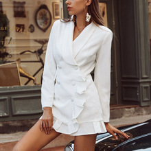 Euro-American Style Retro Suit Dress with Lotus Leaf Edge and Double-breasted Are Popular for Womens Wear In 2019 Women