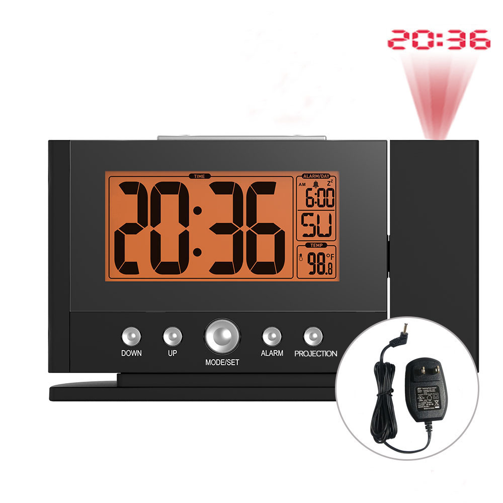 eb937196297 Balder Backlight Snooze Projection Alarm Clock Digital Constante Teto  Projetor Tempo Termômetro Relógio de Parede EUA AU Adaptador De Energia